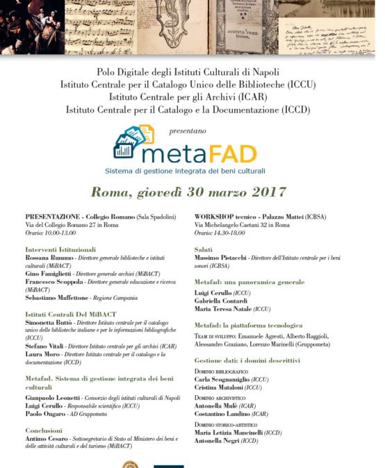 Presentazione Metafad: sistema di gestione integrata dei beni culturali