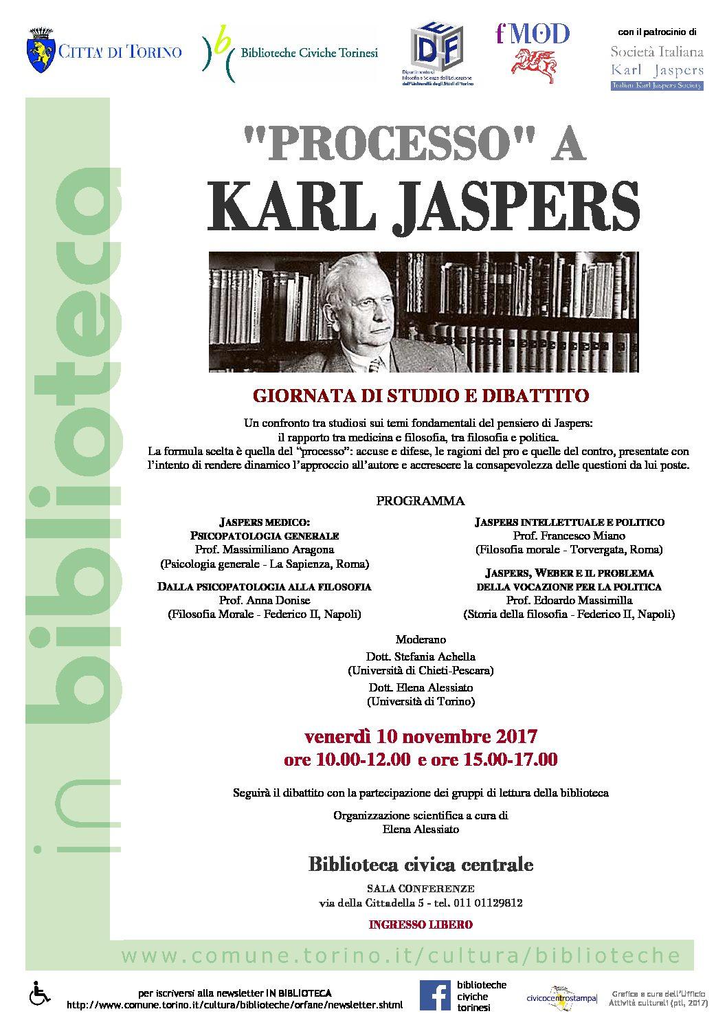 """Venerdì 10 novembre 2017 – """"Processo"""" a Karl Jaspers.  Giornata di studio e dibattito"""