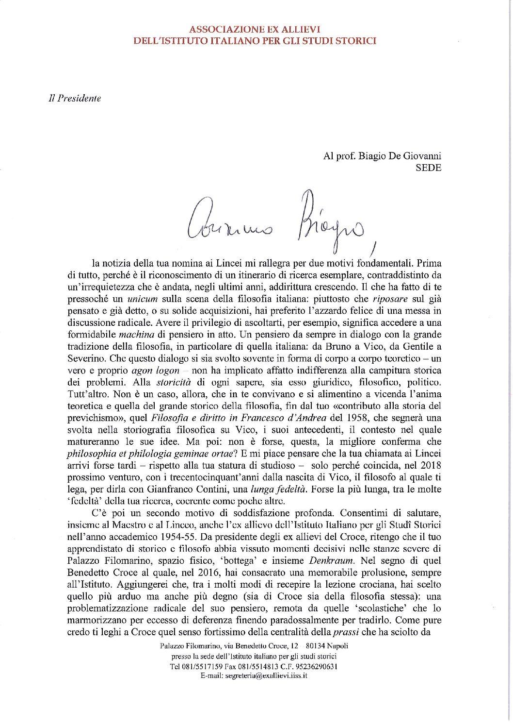 Lettera Presidente d'Alessandro al socio Biagio de Giovanni per nomina Lincei