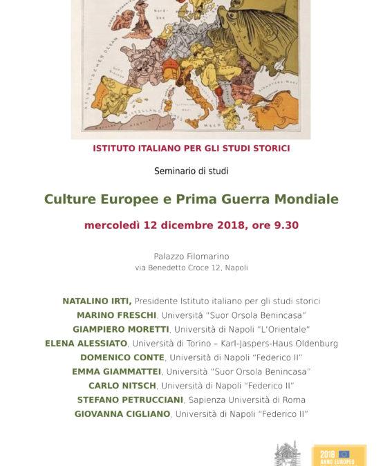 """Seminario di studi """"Culture europee e Prima guerra mondiale"""", 12 dicembre 2018"""