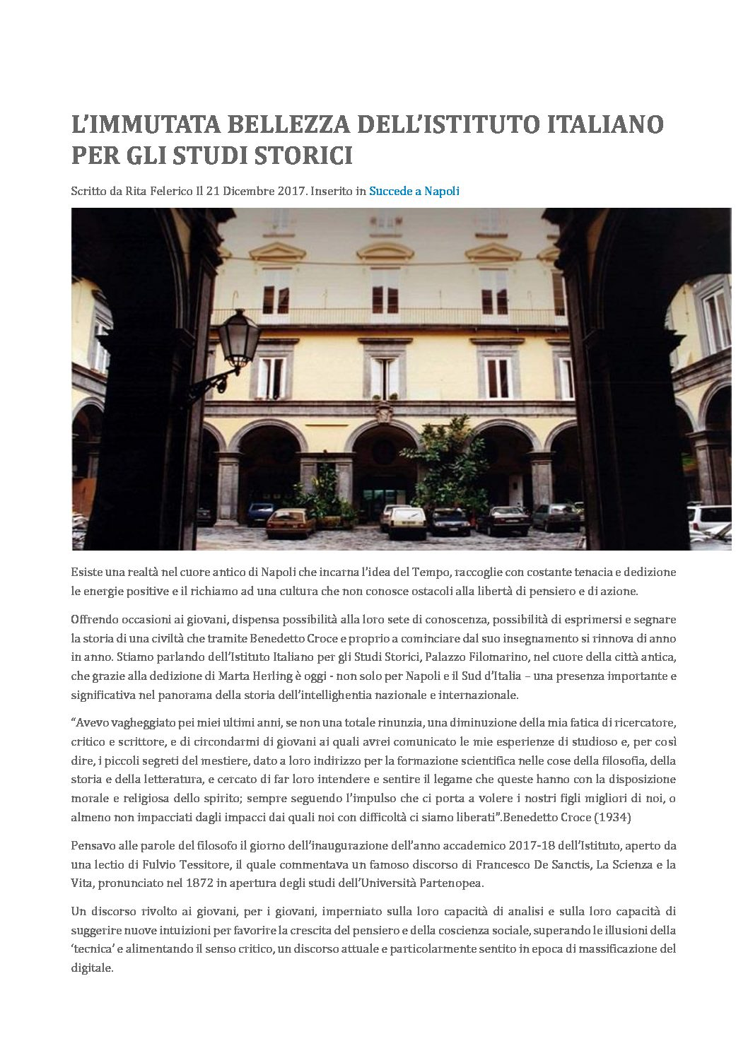 L'immutata bellezza dell'Istituto italiano per gli studi storici