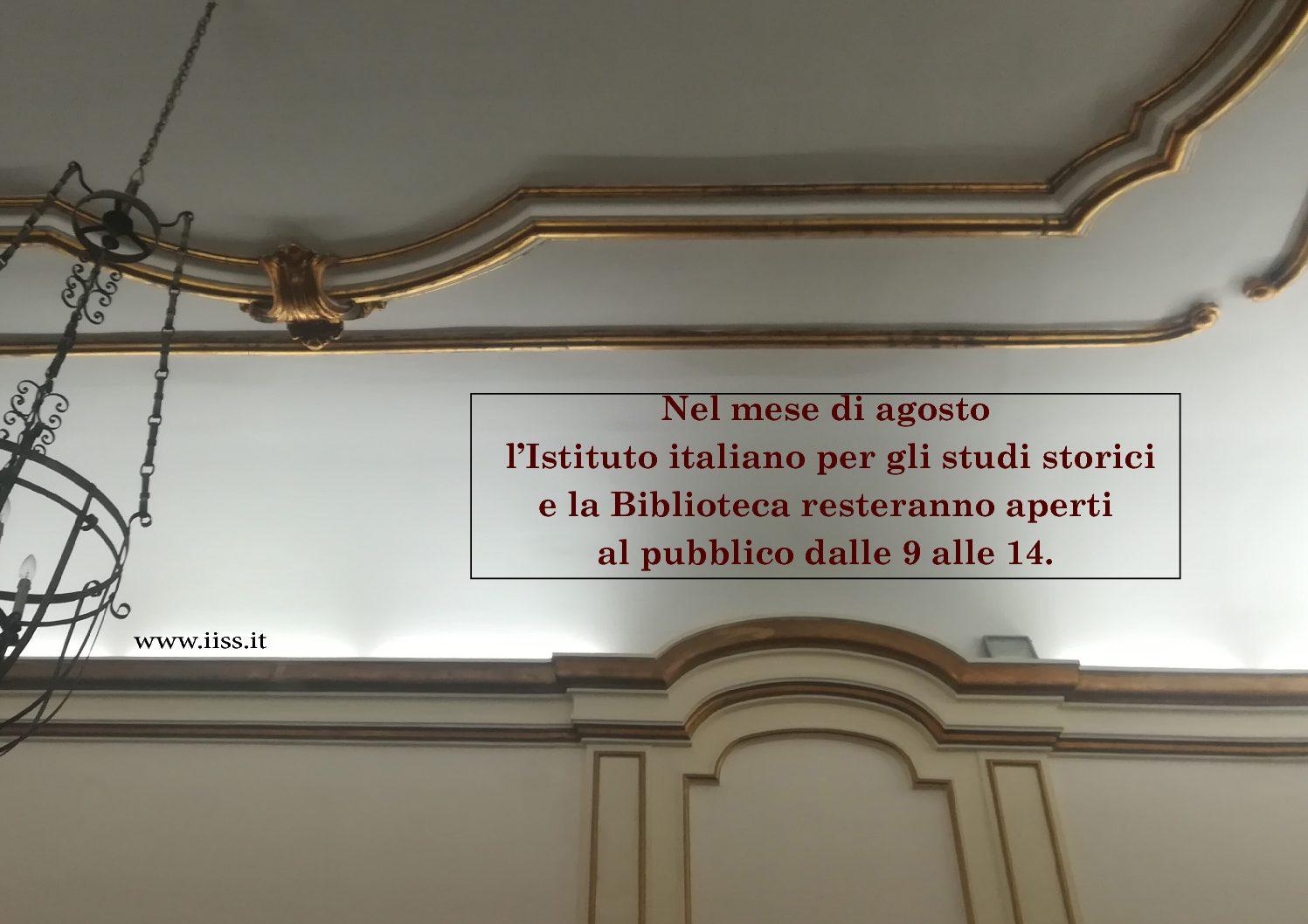 Nel mese di agosto l'Istituto italiano per gli studi storici e la Biblioteca resteranno aperti al pubblico dalle 9 alle 14.