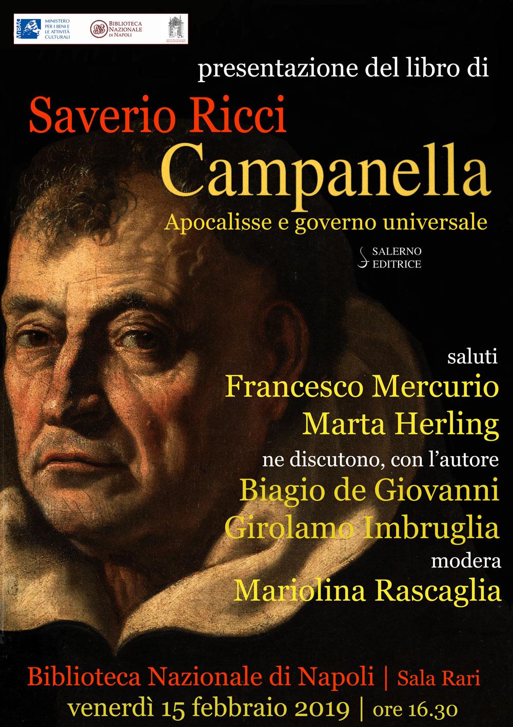 """Presentazione volume S. Ricci, """"Campanella. Apocalisse e governo universale"""". 15 febbraio, 16.30, Biblioteca Nazionale."""