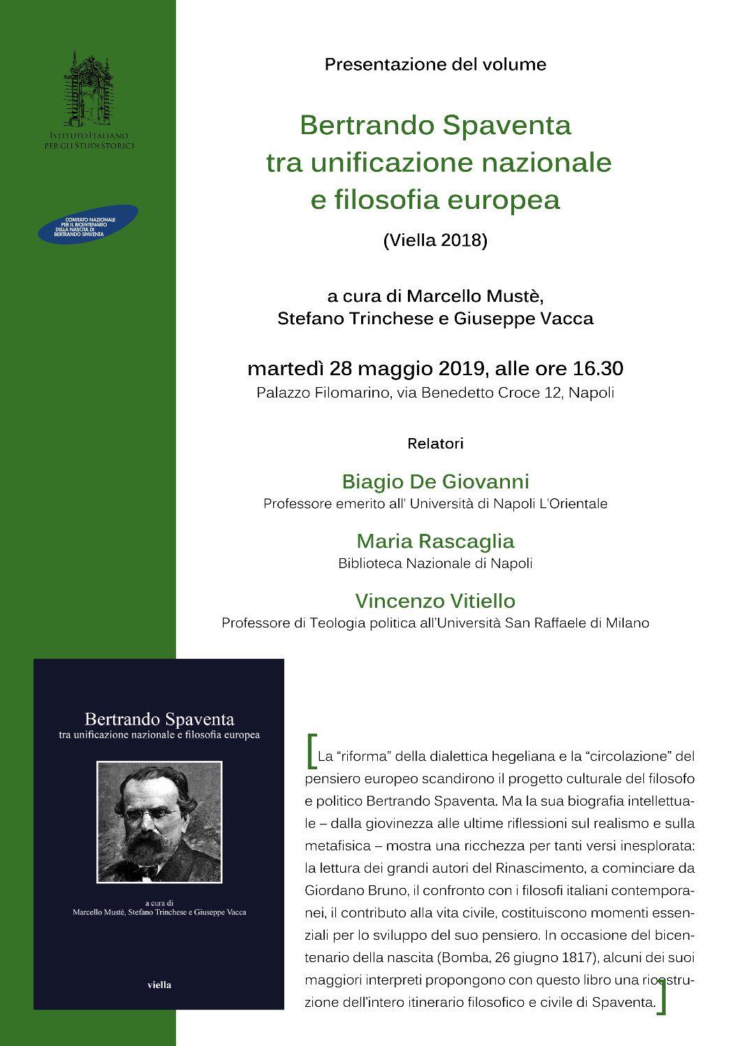 Presentazione volume Bertrando Spaventa tra unificazione nazionale e filosofia europea – martedì 28 maggio 2019