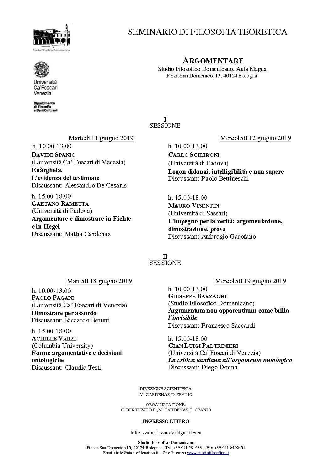 Seminario di Filosofia Teoretica – Bologna giugno 2019