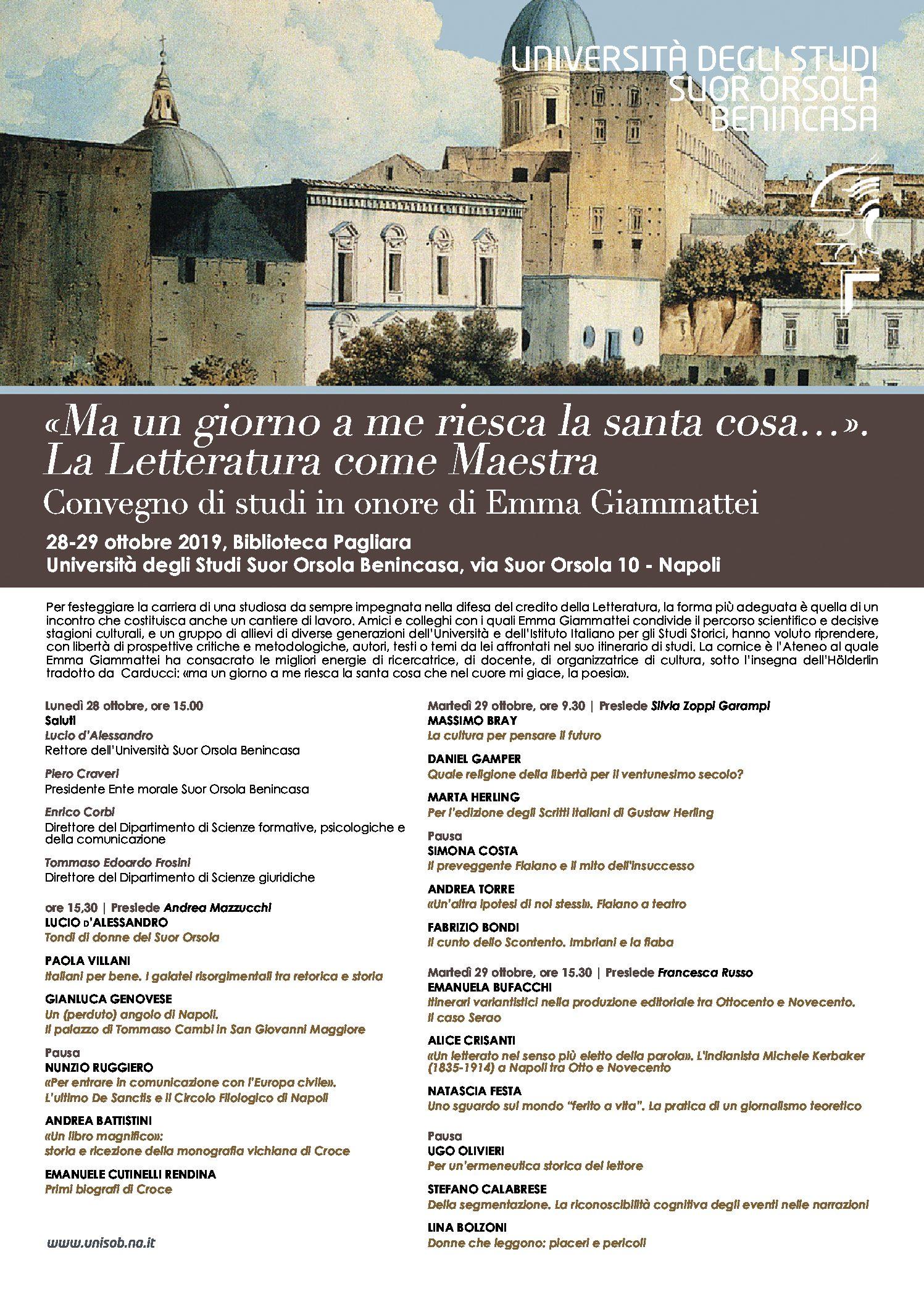 Convegno di studi in onore di Emma Giammattei – 28/29 ottobre 2019 – Università degli Studi Suor Orsola Benincasa