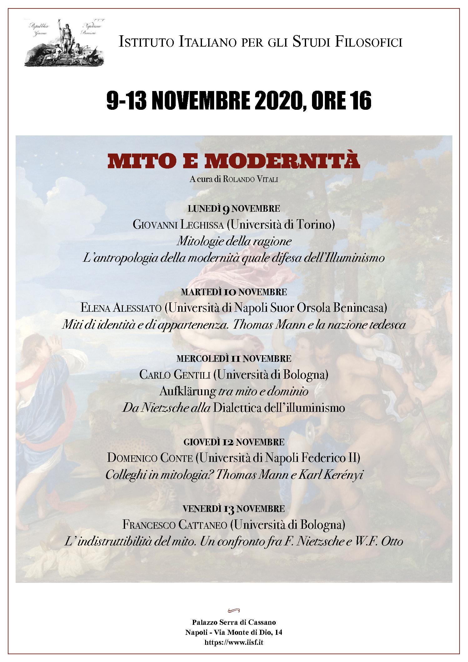 Seminario Mito e modernità – 9/13 novembre 2020, ore 16