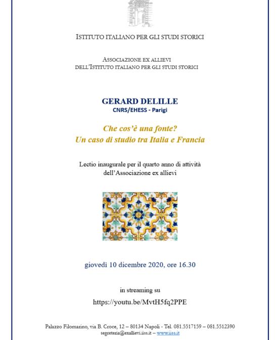 Lectio Prof. Gérard Delille – Che cos'è una fonte?  Un caso di studio tra Italia e Francia – Giovedì 10 dicembre ore 16.30